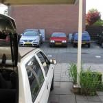 De witte AX op de voorgraond met de rode AX van m'n ouder op de achtergrond.